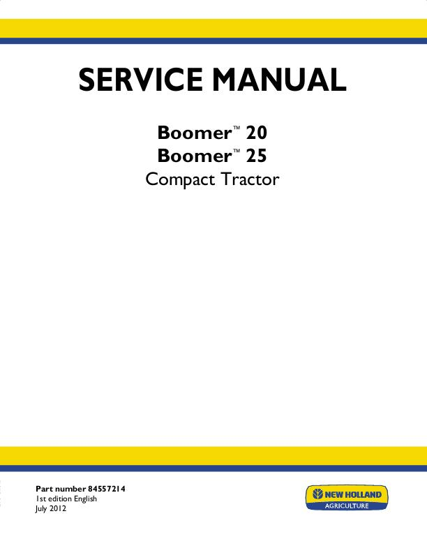 NEW HOLLAND BOOMER 20, 25 COMPACT TRACTOR - COMPLETE SERVICE MANUAL on